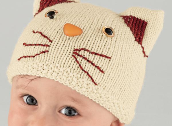 Ideal Tricot layette bonnet chat