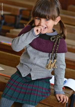 tricot enfant gilet et jupe
