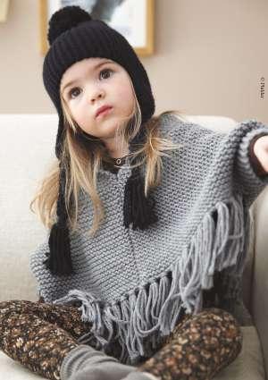 tricot enfant bonnet et poncho