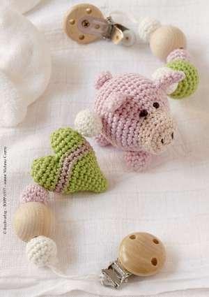 modèle doudou cochon coeur en tricot crochet