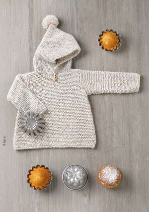 ideal layette 181 pull capuche laine