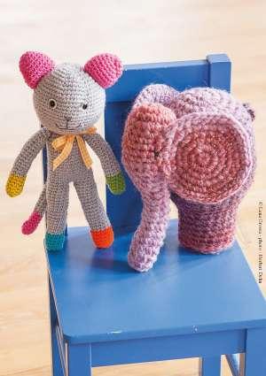 laine tricot doudous souris elephant