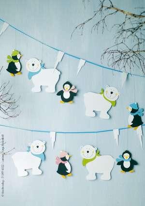 bricolage enfants guirlande hivernale ours et pingouins
