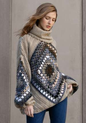 modèle crochet pull granny square