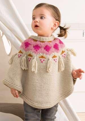 modèle poncho tricoté bébé