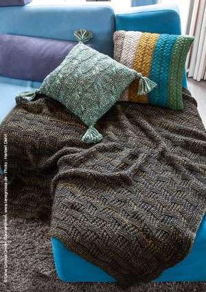 modèle tricot coussin couverture