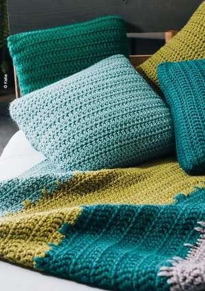 modèle tricot set couverture coussins