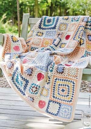 plaid crochet à motif patchwork
