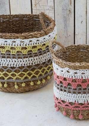 décoration crochet panier en osier