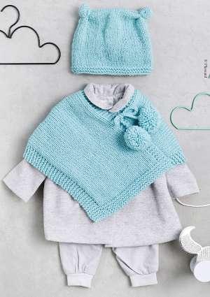 tricot bébé laine bonnet foulard bleu