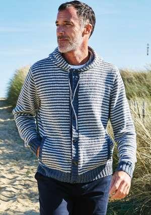 tricot gilet homme marinière bleu et blanc
