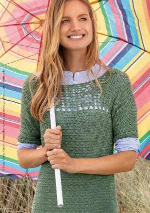 robe en crochet laine verte