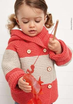 gilet en tricot enfants grosse rayure