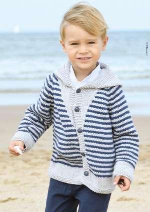 gilet tricot enfant style marinière