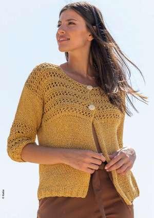 tricot gilet jaune motifs