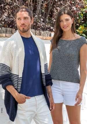 modèle homme et femme gilet rayé débardeur gris tricoter