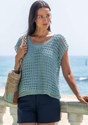 pull à manche courte en laine crochet femme