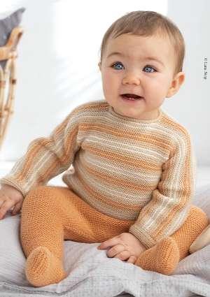 ideal layette tricot enfant pull et pantalon orange