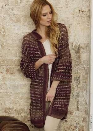 gilet long, veste pour femme au crochet