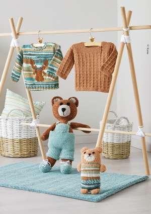 doudou et pull pour enfant en laine tricot crochet