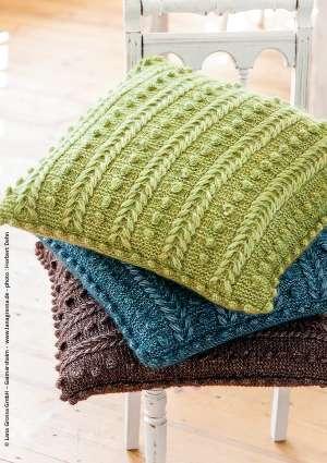 coussin couleurs tricoté laine