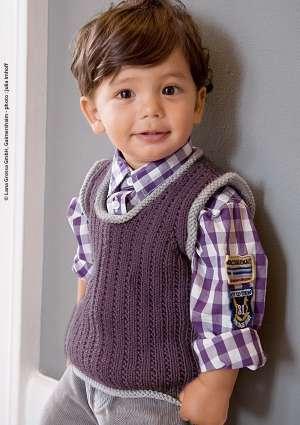 pull sans manche pour enfant tricoté en laine