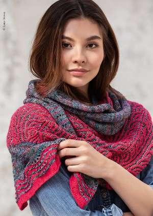 étole motif tricoté en laine pour femme
