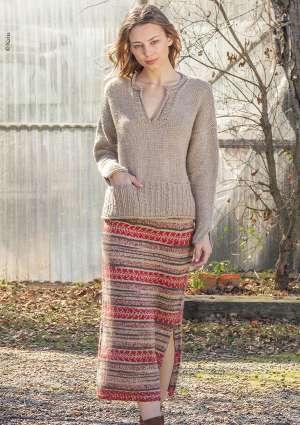 pull et jupe longue pour femme, tricoté laine