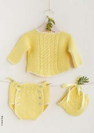 ensemble jaune tricot nouveau né