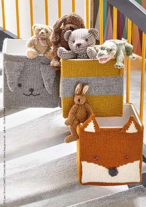 boites de rangement tricotées