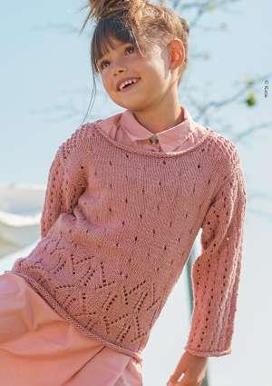 fille brune pull fille en laine rose