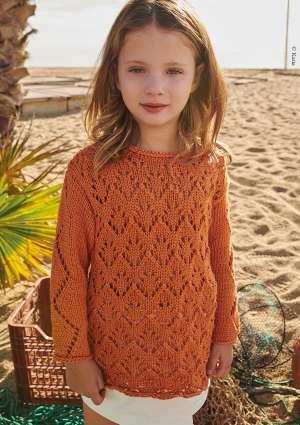 jeune fille pull en laine orange